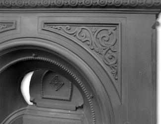 Original Arched Cast Iron Late Victorian Combination Fireplace detail