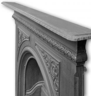 Original Arched Cast Iron Late Victorian Combination Fireplace high angle