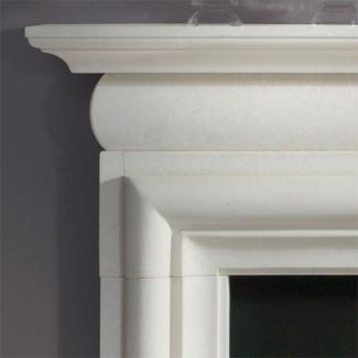Asquith Mantel in aegean limetone detail
