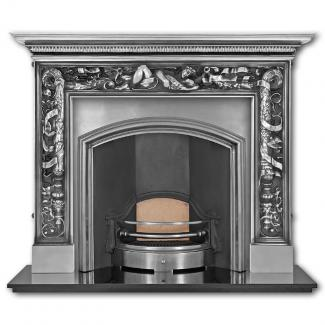 The London Plate ( Wide Opening ) Cast Iron Fireplace Insert full polished